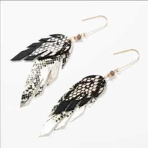 Fall Leather Feather Dangle Earrings